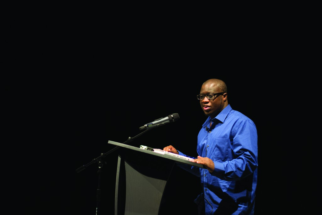 Fiction writer Rion Amilcar Scott came to the University of Maine campus for a New Writing Series reading on Thursday, Oct. 13, 2016. Photo by Maggie Gautrau, Photo Editor.