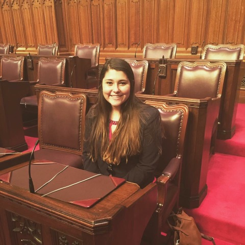 Third-year political science student Miranda Roberts spent five weeks assigned to work with a parliamentarian in Canada. Photo courtesy of Katey Potter.